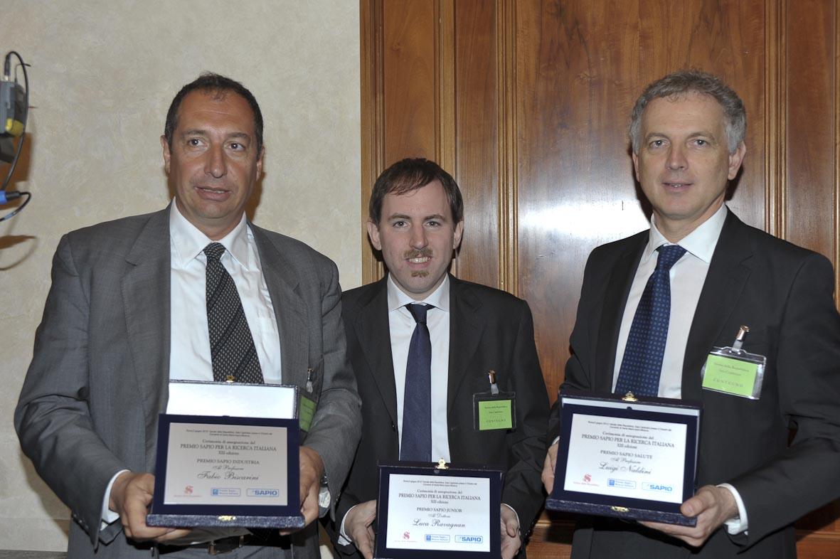 i tre vincitori del Premio Sapio-2