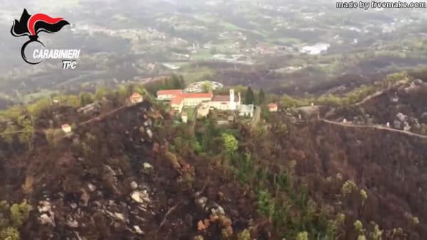 Il Santuario è salvo dopo il grande incendio: le immagini girate dall'elicottero