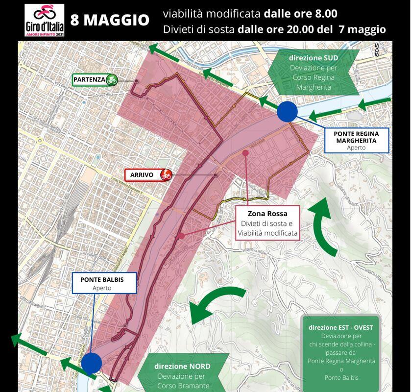 Cartina Italia Nord Sud Est Ovest.Il Giro D Italia A Torino Sabato 8 Maggio Strade Chiuse Dove Passare