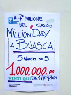 San Colombano Belmonte Buasca vincita Million Day 1-2